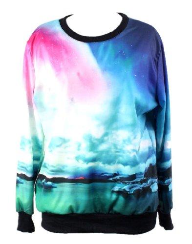 Pandolah Neon Galaxy Cosmic Colorful Patterns Print Sweatshirt Sweaters (Free size, Aurora)