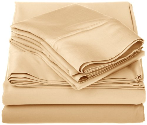 Egyptian Cotton 1000 Thread Count Oversized King Sheet Set Solid, Gold front-945417
