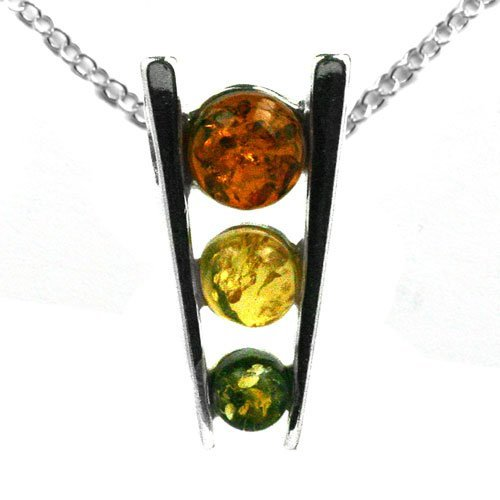 Baltic Multicolor Amber and Sterling Silver Triple Eye Pendant Rolo Chain 18