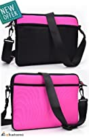 9-inch Tablet Case fits Apple iPad 2 Wi-Fi + 3G Sleeve Messenger Shoulder Bag [HOT PINK & BLACK]. Bonus Ekatomi Screen Cleaner by kroo