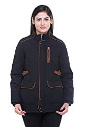 Trufit Full Sleeves Solid Women's Black Quilted Cotton Parka Jacket with Patch Pockets