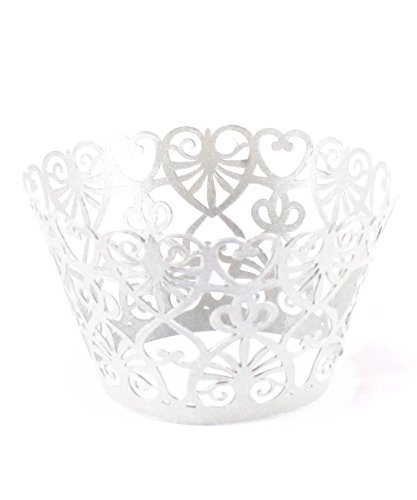 Zerowin 24pcs Love Heart Lace Laser Cut Cupcake Wrapper Liner Baking Cup Muffin Case Trays Wedding Birthday Party Decoration, Bling White (Heart Baking Decorations compare prices)