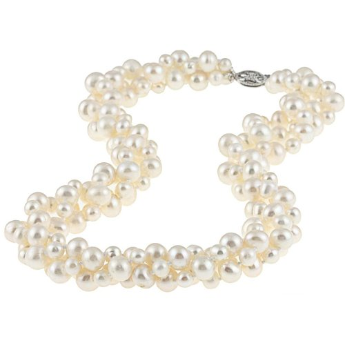 DaVonna Sterling Silver White Freshwater Pearl Twisted Necklace (4-8 mm)