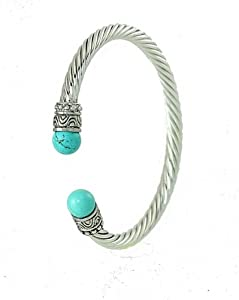 Designer-style Cable Rope Cuff Bracelet Silver Tone with Turquoise-color Ends