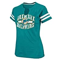 Miami Dolphins Women's Majestic Go For Two II Split Neck T-shirt from Majestic