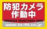 防犯カメラ作動中ステッカー 日本製【Amazonから即日発送】(小サイズ・赤)