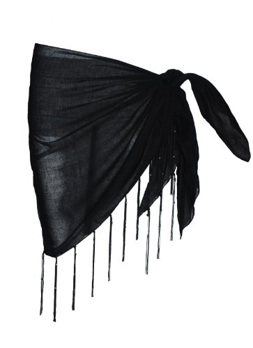 Plain Half Black Cotton Sarong With Tassels & Beads