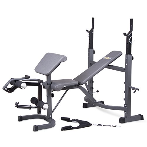 Body Champ Olympic Weight Bench with Preacher Curl, Leg Developer and Crunch Handle, Dark Gray/Black (Machine Bench Press compare prices)