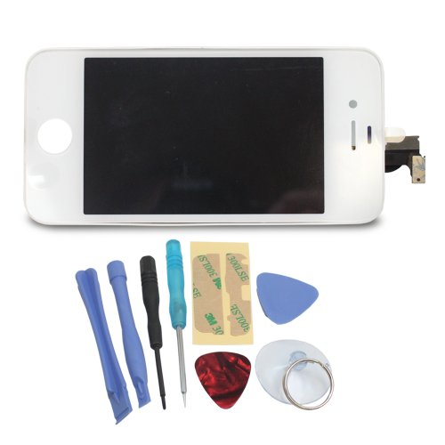 Replacement Digitizer And Touch Screen Lcd Assembly For White Apple Iphone 4 (At&T / International / Gsm Models) - Includes Tool Kit With Pentalobe Screwdriver