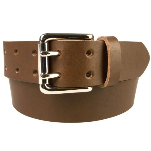 "42-46 inch (XL) , Brown, Nickel Plated Solid Brass Double Prong Buckle - 1.5"" Wide Leather Belt - Made In UK (BD-0018-38-NK)"