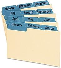 ESSLTE Laminated Index Card Guides Monthly 13 Tab Manila 3 x 5 12Set