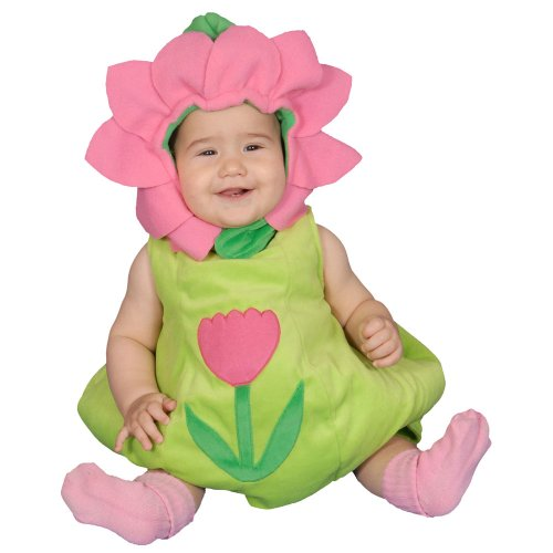 Dress Up America Dazzling Baby Flower, Green/Pink, 6-12 Months front-186598