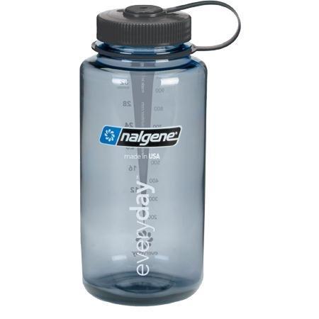 Nalgene Nalgene BPA Free Tritan Wide Mouth Water Bottle, 32 Oz, Gray with Black Lid
