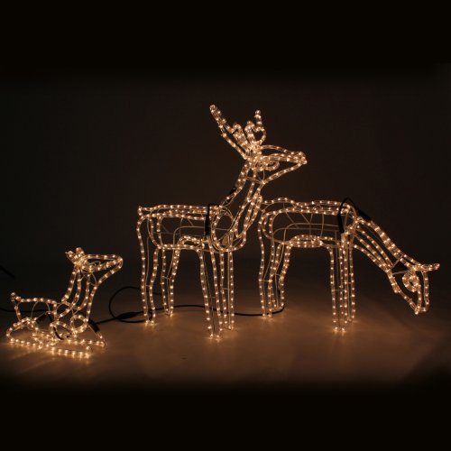 Werchristmas pre lit large animated reindeer family stag for Animated lighted reindeer christmas decoration