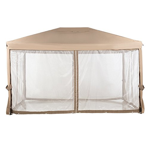 Abba patio 10 12 feet fully enclosed garden gazebo patio - Insect netting for gazebo ...