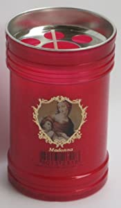 Set of 4 Red Votive Candles - Madonna (Virgin Mary) [ Italian Import ]
