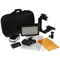 Fotodiox Pro LED 209A w/ Video Lighting Bracket, Photo / Video Dimmable LED Light Kit, 1x Sony type Battery, Color Temperature 5600K, + Tungsten Gel, and Lighting Bracket, Fits Canon Camcorder, video camera VIXIA HF M40, R20, M41, R200, R100, M400, M300, G10, S30, R21, M30