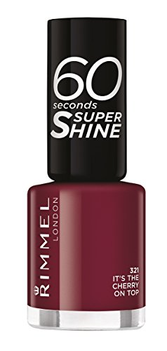 Rimmel London - 60 Seconds Supershine, Smalto per unghie ultra brillante, N. 321 It's The Cherry On Top, 8 ml