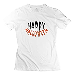 100% Cotton Vintage Happy Halloween Tees For Lady - Round Neck