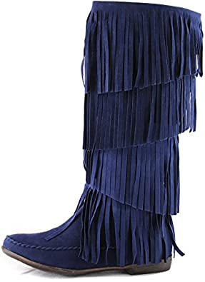 Women's Breckelle'S Chicago-12 Blue Suede Fringes Flat Boots Shoes, Blue SV, 5.5