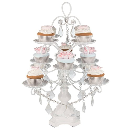 'Madeleine Collection' 12 Piece Cupcake Stand, Dessert Display Tower with Crystal Dangles (White)