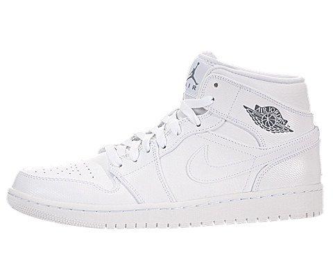 pictures of Nike Jordan Men's Air Jordan 1 Mid White/Cool Grey/White Basketball Shoe 10.5 Men US