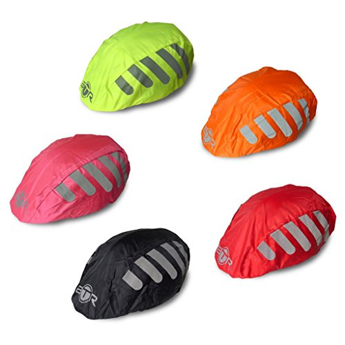 BTR High Visibility BLACK Universal Size Bike / Bicycle Waterproof Helmet Cover With Reflective Stripes - One Size Fits All (Cycling Helmet Cover compare prices)