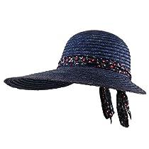 Big Brim Sewn Wheat Hat - Navy