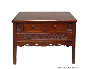 Chinese rectangular brown foyer pedestal table as868 kitchen dining - Rectangular pedestal kitchen table ...