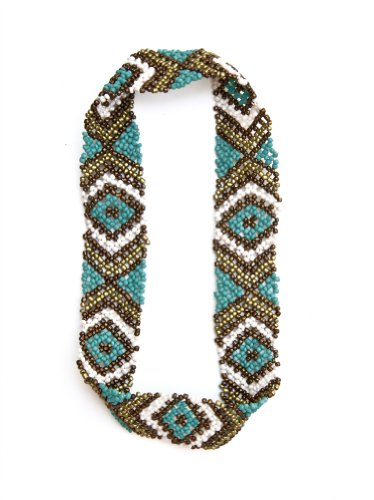 New Custom Colored Native American Pattern Elastic Stretch Seed Bead Headbands / Hair Accessories (F: Turquoise & Brown)