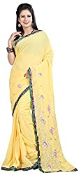 Shree Creation Women's Georgette Saree with Blouse Piece (Yellow)