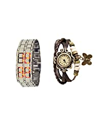 COSMIC COUPLE WATCH- BROWN LEATHER ANALOG WATCH FOR WOMEN AND SILVER CHAIN BRACELET WATCH FOR MEN
