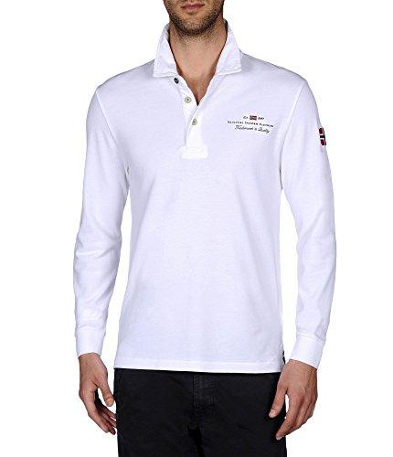 Napapijri polo da uomo manica lunga N0YCYM Elbas long sleeves bright white S