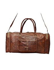 Real Goat Leather Handmade Travel Luggage Vintage Genuine Duffel Bag From India