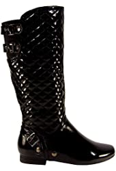 Womens Quilted Buckle Side Zipper Riding Boots Black