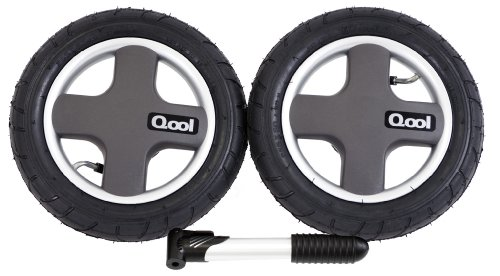 Joovy Qool Pneumatic Rear Wheels and Tire Pump, Black