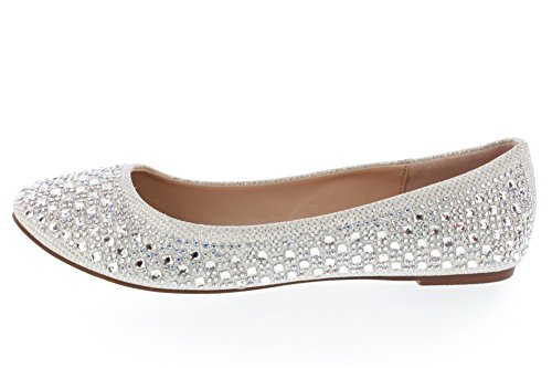 Women's Closed Toe Rhinestone Crystal Embellished Flat Shoes - Frozen Elsa Costume Shoes