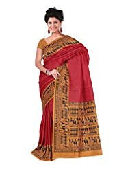 Fabdeal Indian Wear Magenta & Yellow Raw Silk Printed Saree-QWLSR414BRM