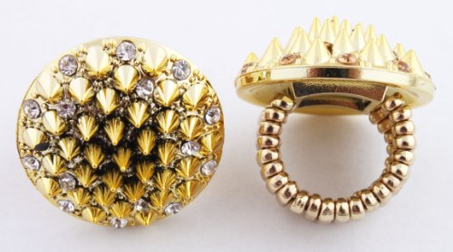 Gold Stretch Ring with Multiple Spikes One Size Fits All Poparazzi