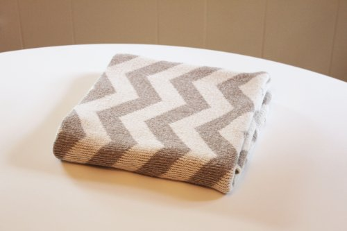 Eco Friendly Cotton Baby Blanket - Chevron Grey Linen - Made in USA