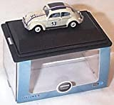 Oxford pearl white herbie VW beetle car 1.76 railway scale diecast model