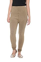COLORS & BLENDS - Beige Woolen-Lycra Leggings for Women