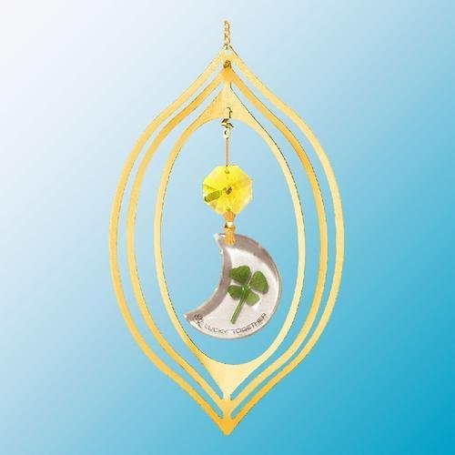 24K Gold Plated Hanging Sun Catcher or Ornament..... Moon Shaped Four Leaf Clover & Gold Swarovski Austrian Crystals In a Oval