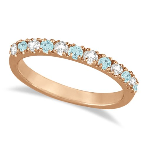 Diamond And Aquamarine Stackable Ring Anniversary Band For Women 14K Rose Gold (0.32Ct)