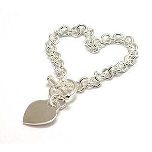 Olivia - Umwerfendes Damen Armband mit Herzanhänger und T-Verschluß aus 925/Sterling Silber -19cm- CL513 22-26gr