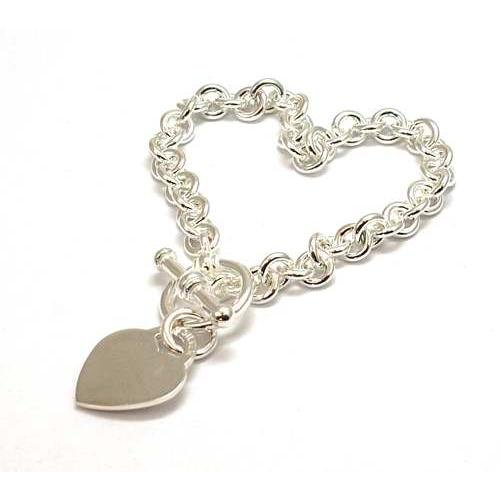 Toc Sterling Silver 26 Gram Bracelet With Heart Charm and T-Bar Closure