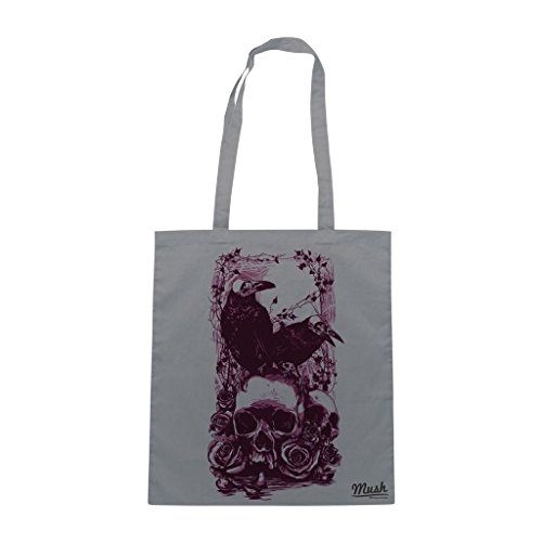 Borsa Skull & Raven Edgar Allan Poe - Grigia - Famosi by Mush Dress Your Style