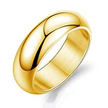 buy Double Fnt 7Mmunisex Men'S Women'S Solid Polished Smooth Fashion Wedding Ring, Size 7-12 Gold Silver