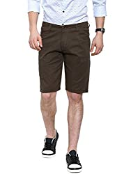 Showoff Men's Brown Slim Fit Solid Casual Chino Shorts