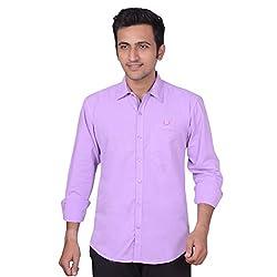 Anry Men's Casual Shirt (PRL4100_Purple_L)